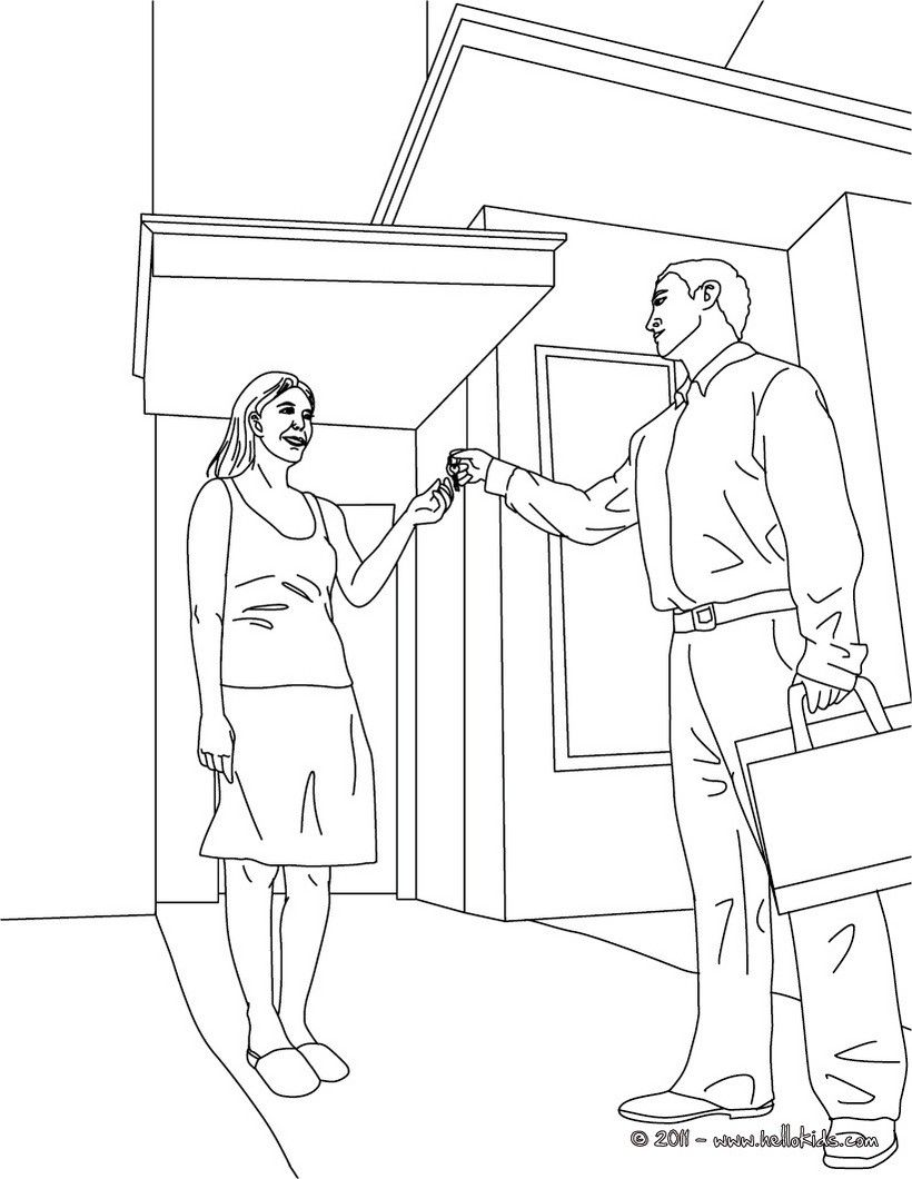 Real Estate Agent Gives The Keys To The Buyer Coloring Page Amazing Way For Kids To Discover Job More Original Content Coloring Pages Color Real Estate Agent