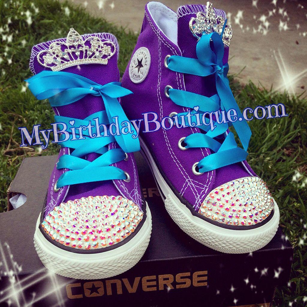 Frozen inspired Swarovski crystal embellished converse, purple ...
