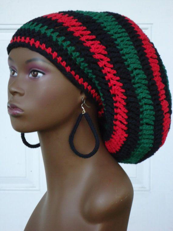 Crochet Cotton Rasta Tam Cap Hat With Drawstring Red By Razondalee