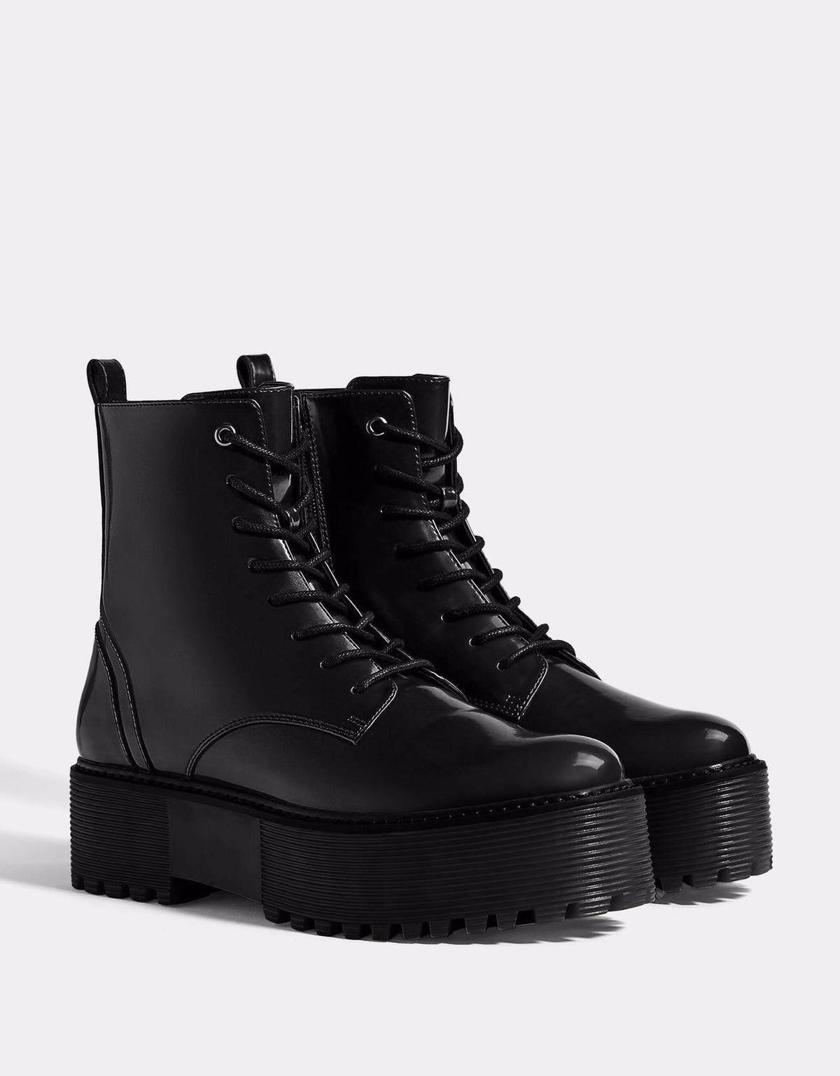 Bershka Chunky Black Combat Boots Sz 6 Platform Ankle Boots Shoe Boots Boots