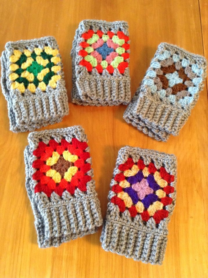 Granny Square On Gray Crochet Fingerless Gloves New