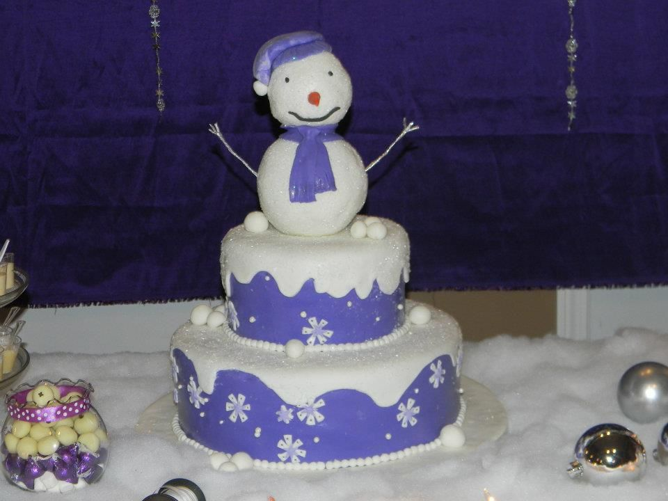 Snowman Cake For A Winter Wonderland Baby Shower Theme.