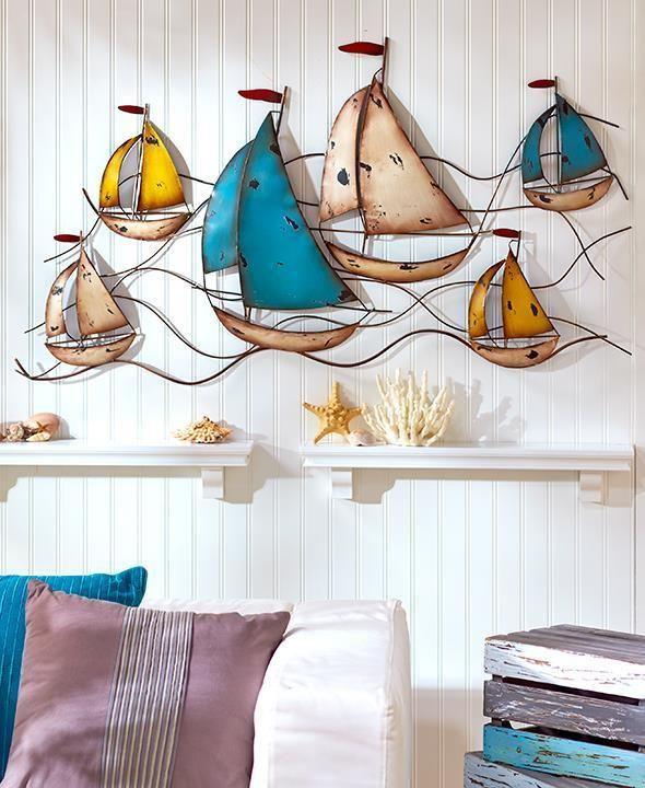 New Sailboat Metal Wall Art Sculpture Seaside Nautical Coastal