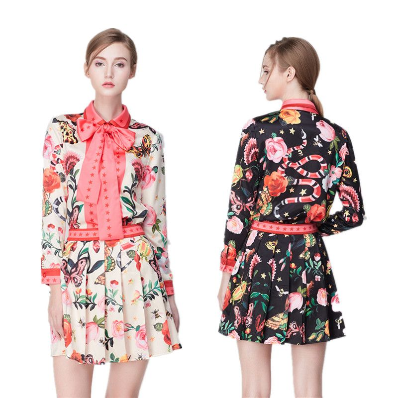 09c86492c7  NEW SALE  Temperament Ladies Skirt Suit 2017 Spring New Fashion Lace Bow  Tie Collar