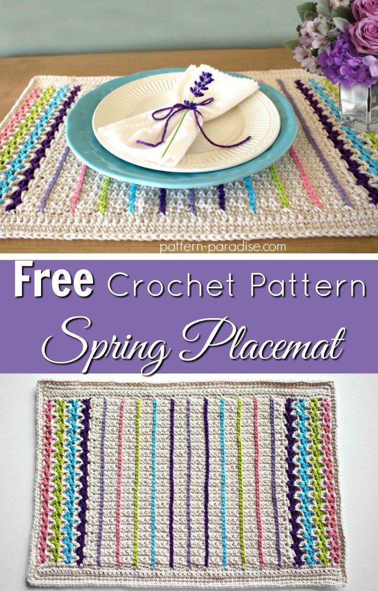 Free Crochet Pattern For Spring Placemat By Pattern Paradise