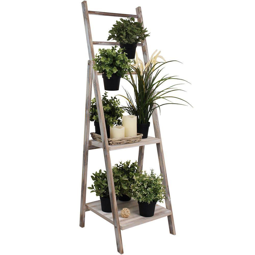 Jardinera maseta florero con escalera de madera para - Escaleras para jardin ...