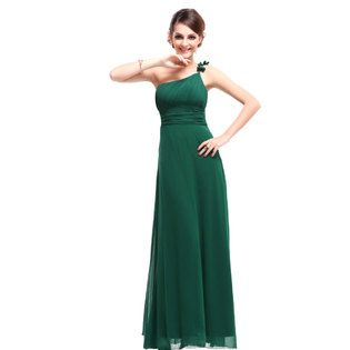 Ever-Pretty Ever Pretty Flower Ruffles One Shoulder Green Empire Line Formal Dress 09596 - Clothing - Women's - Dresses