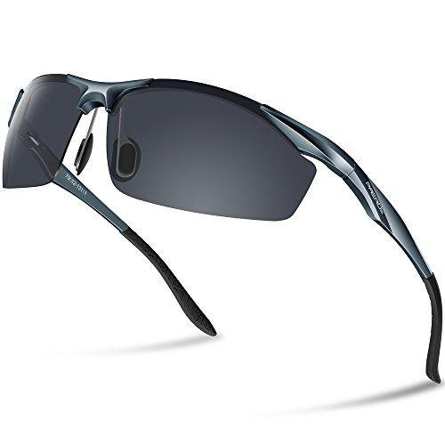 Lunettes de soleil homme Paerde - Lunettes de sport polarisées - Lunettes de conduite avec monture en métal Incassable - 100% anti UV400 f8w9APqB