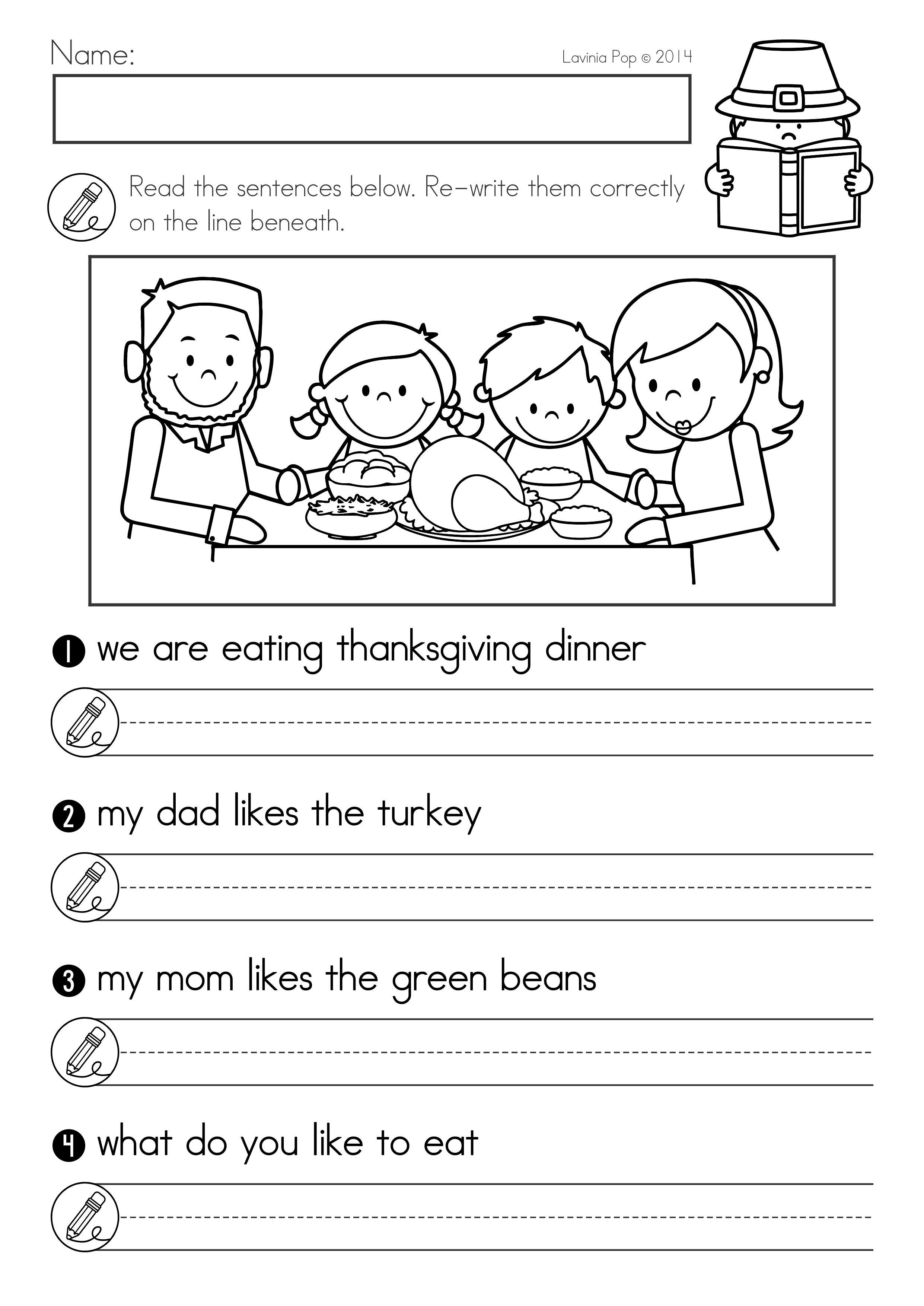 Thanksgiving Math \u0026 Literacy Worksheets and Activities for Kindergarten.  Fix the sentence…   Worksheets for class 1 [ 3508 x 2482 Pixel ]