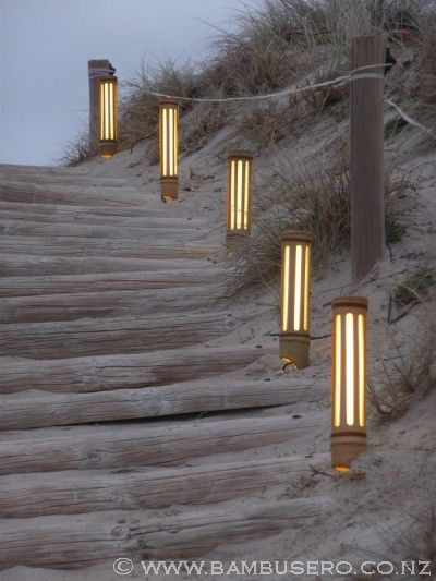 Bamboo Short Lines Path Outdoor Lighting Kap Lampu Arsitektur
