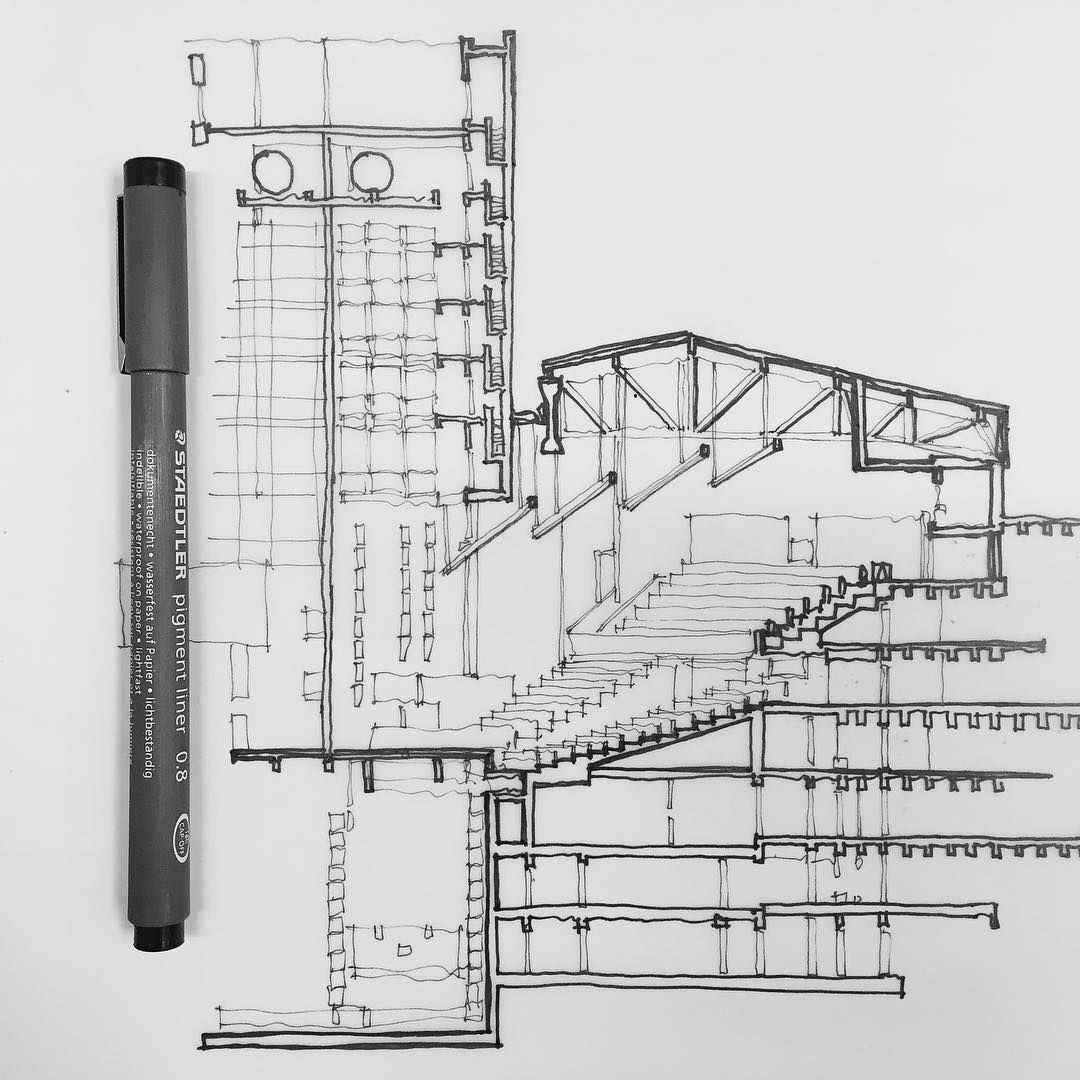 Partial section of The National Theatre, by Denys Lasdun. | sketches ...