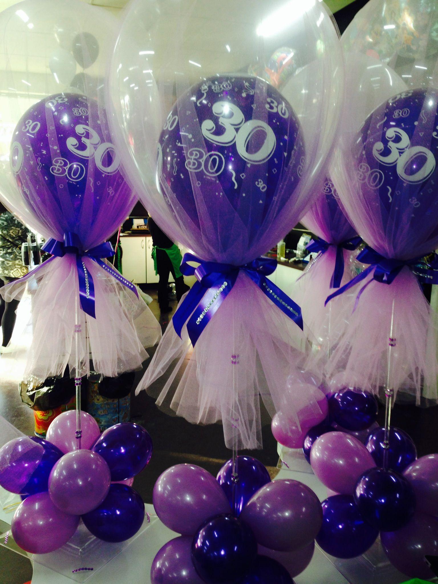 Tulle 30th birthday table centre partyshop shepparton for Balloon arrangement ideas