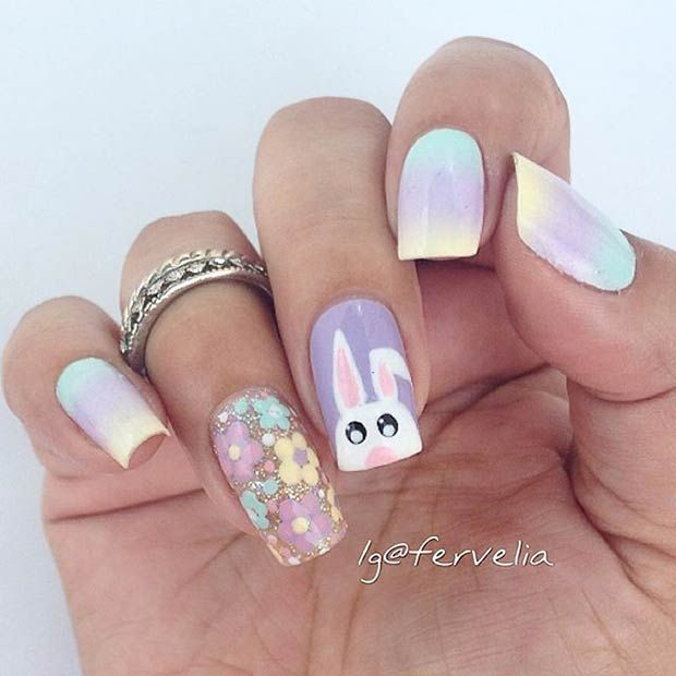 Pastel & Bunny Easter Nail Art Design - 21 Easy And Simple Easter Nail Art Designs StayGlam Beauty