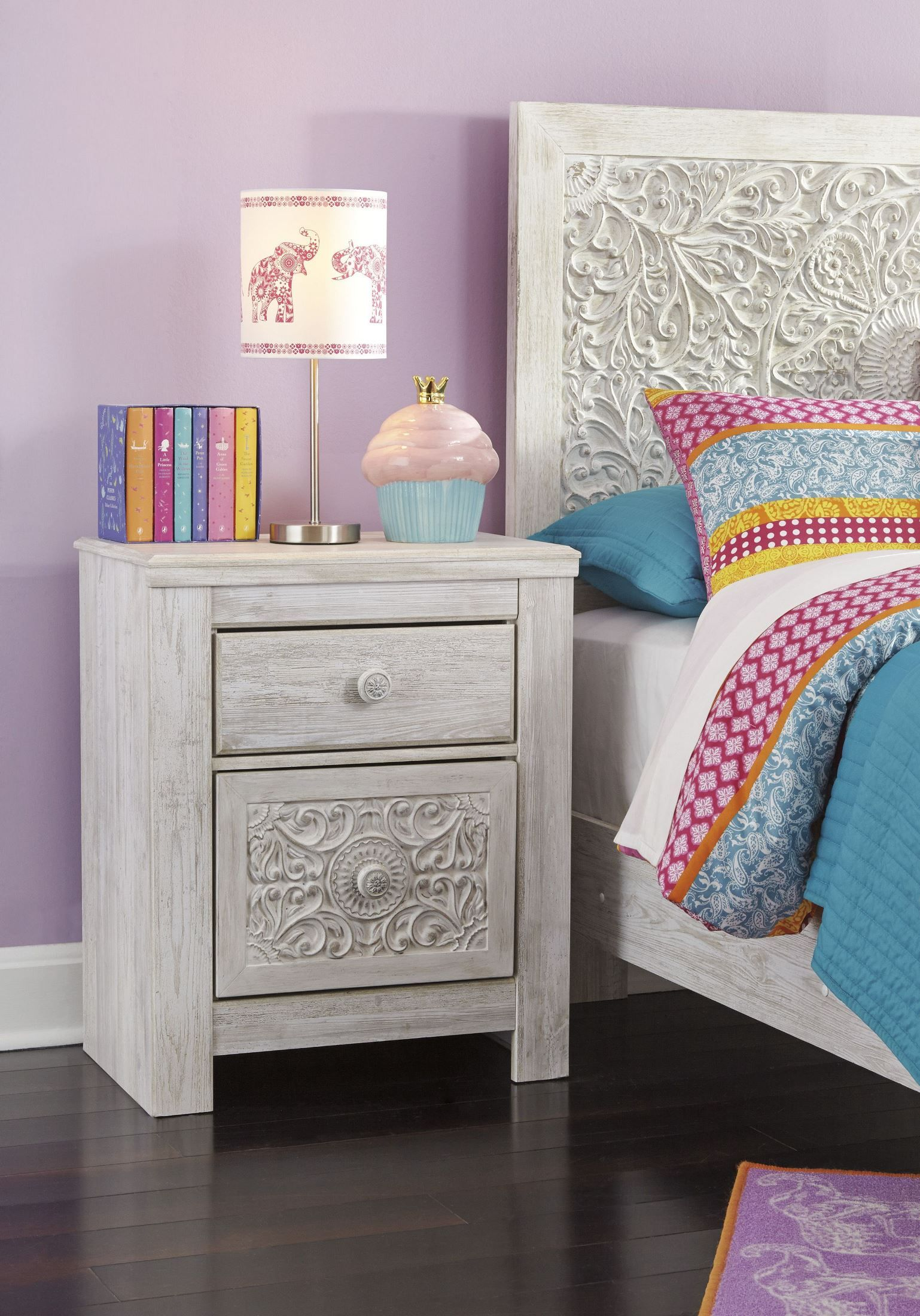Paxberry Whitewash Two Drawer Nightstand ASLB18192 in
