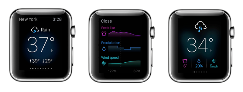 Yahoo Weather Apple Watch app, nice and clean Apple