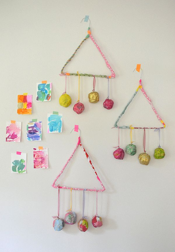 Paper m ch mobile with kids papier mache paper and for Very simple wire craft projects