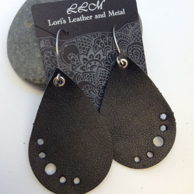 Photo of Leather Earrings – Handmade Ear Wires – Handmade Ear Hoops – Handmade Ear Wires – Black Leather Earrings – Teardrop Earrings