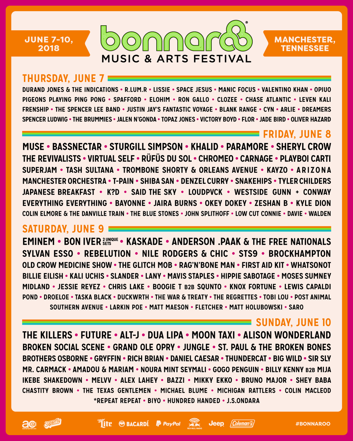 2020 Bonnaroo Music And Arts Festival Lineup.2018 Lineup Poster Bonnaroo Music Arts Festival 2018