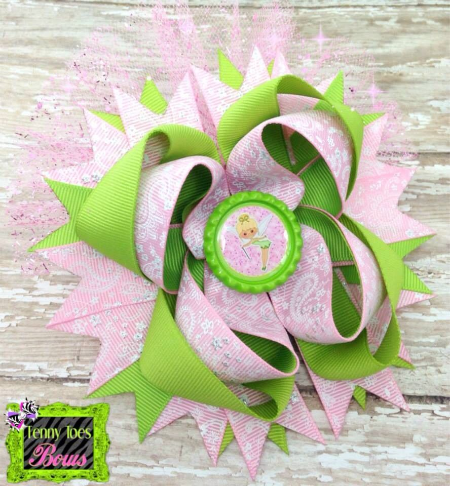 Tinkerbell bow moños y tutus pinterest tinkerbell and hair bow