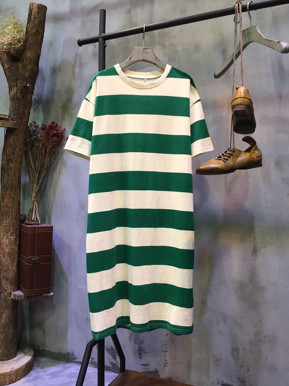 Korean fashion thickstriped casual tshirt dress long summer