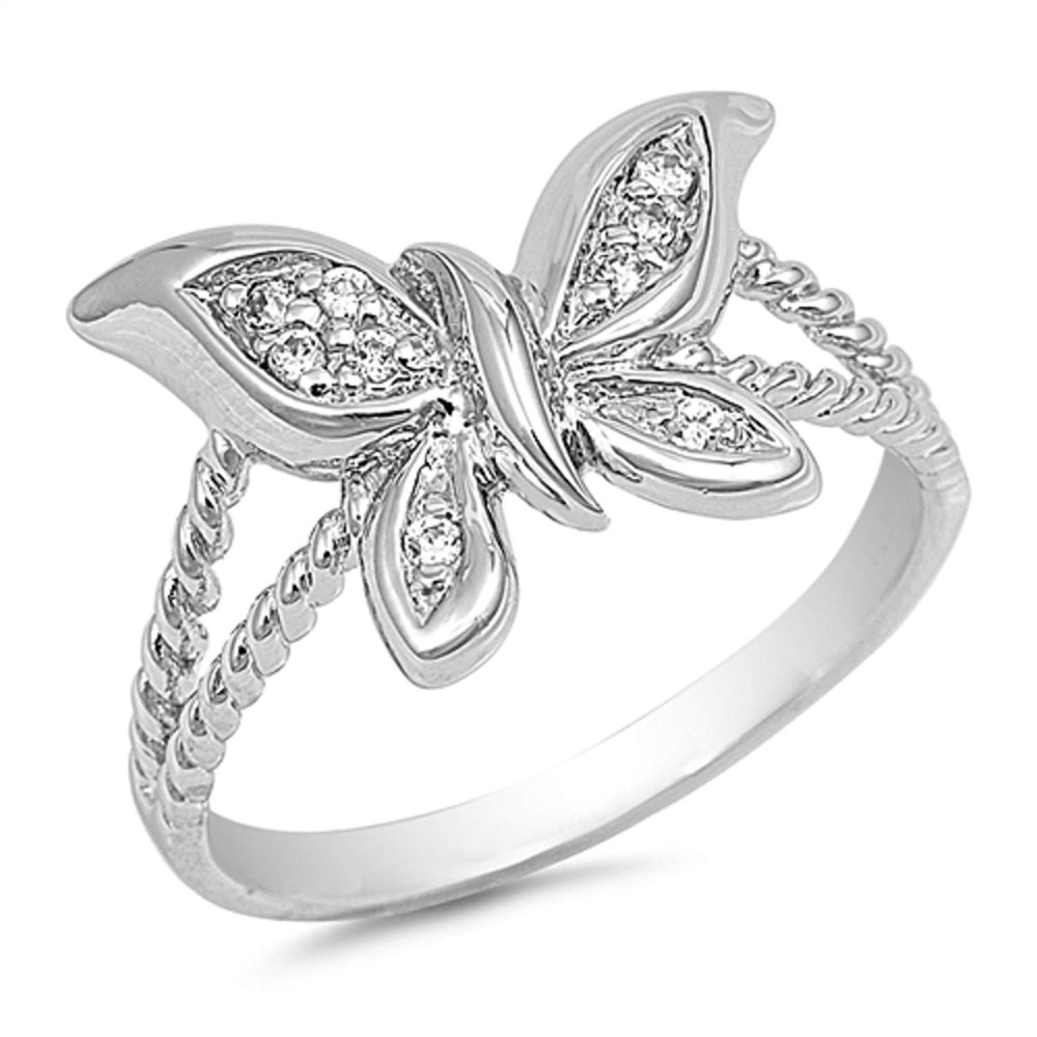 CloseoutWarehouse Flower Adorned Cubic Zirconia Ring Sterling Silver 925