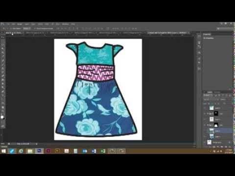 Use Photoshop To Put Patterns In A Line Drawing Clothing Design Digital Fashion Design Digital Pattern Design Dress Design Sketches