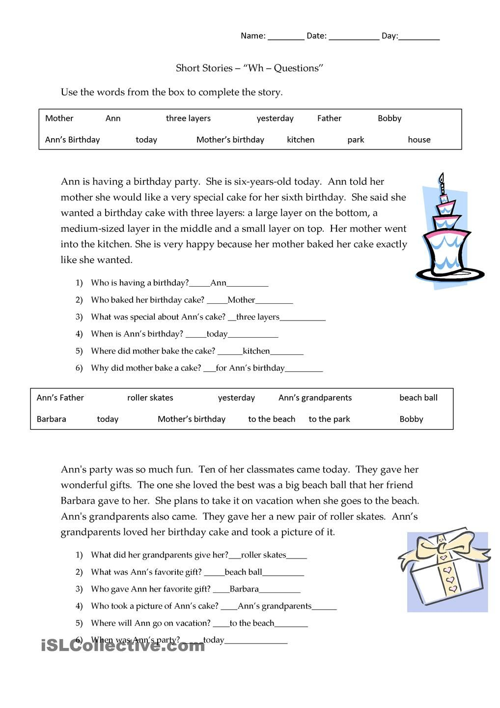Short Stories Wh-questions - answers   Wh questions worksheets [ 1440 x 1018 Pixel ]