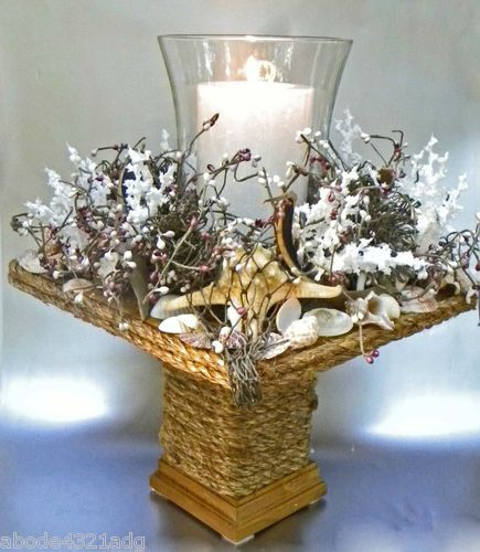 Nautical Decor Centerpieces: Nautical Coastal Beach Centerpiece Candle Holder Seashell