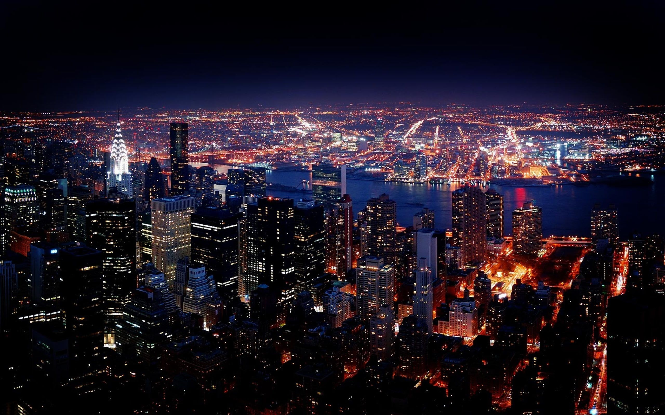 New York City Night View Hd Wallpaper In 2020 New York Wallpaper City Wallpaper Night Skyline