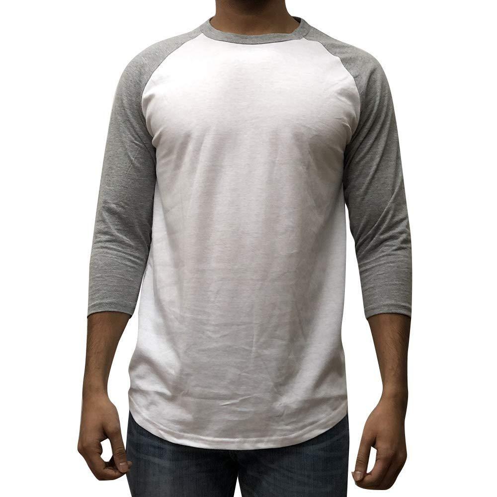 8daefa1022d7d4 KANGORA Men's Plain Raglan Baseball Tee T-Shirt Unisex 3/4 Sleeve Casual  Athletic Performance Jersey Shirt (24+ Colors)