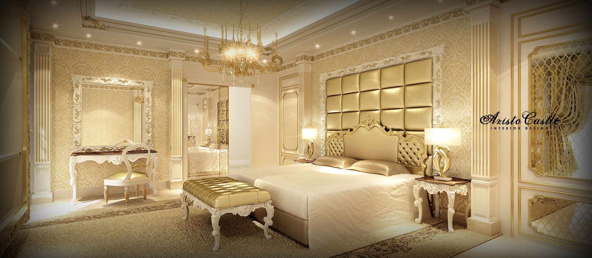 Dubai luxury interior design luxury master bedroom for Luxury hotel room interior design