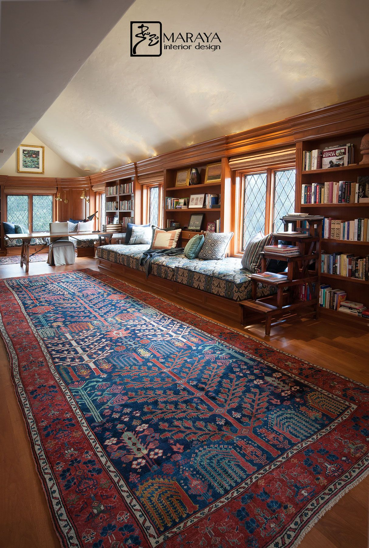 Old Wood Paneled Room: Antique Red And Blue Rug, Paneled Walls In This Old
