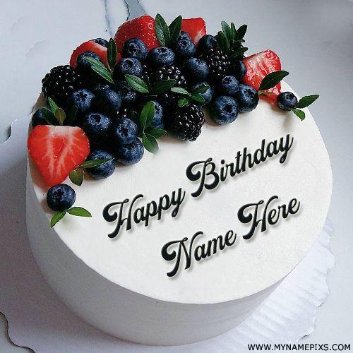 Elegant White Fruit Cake For Birthday Wishes With Name Write Name on