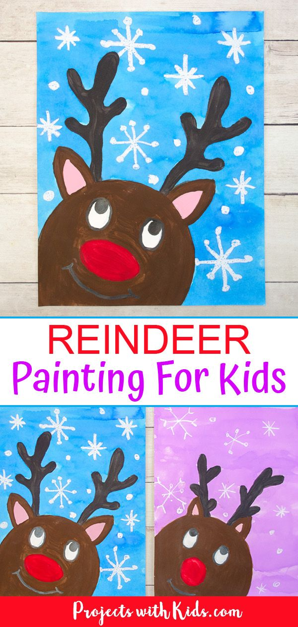 This reindeer painting idea for kids is just the cutest! Kids will have fun painting their reindeer looking up at the falling snow. Three printable templates included making this Christmas art easy for kids of all ages. #projectswithkids #christmasart #kidsart #reindeercrafts