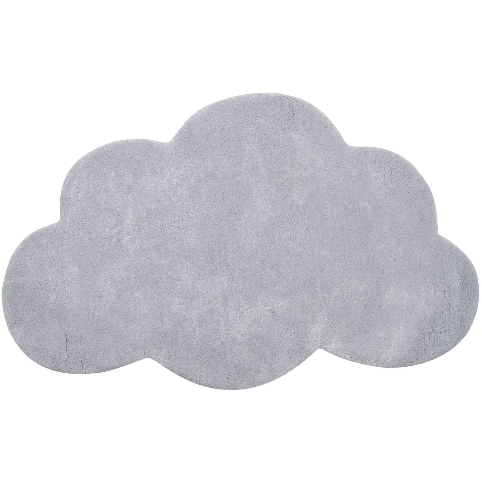 tapis coton nuage gris clair 64 x 100