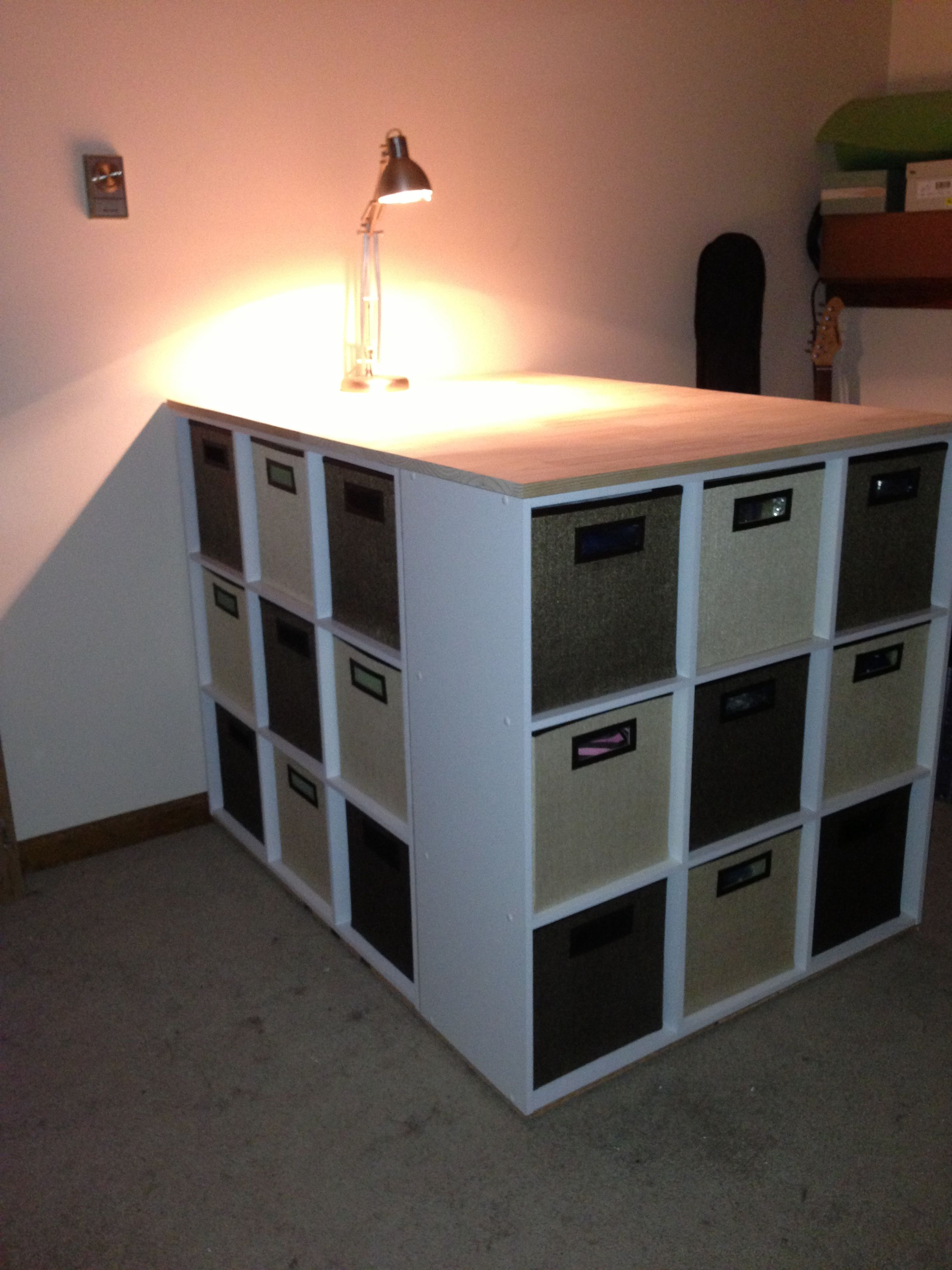My New Craft Storage Table 3 9 Cube Cubbies And A Glued