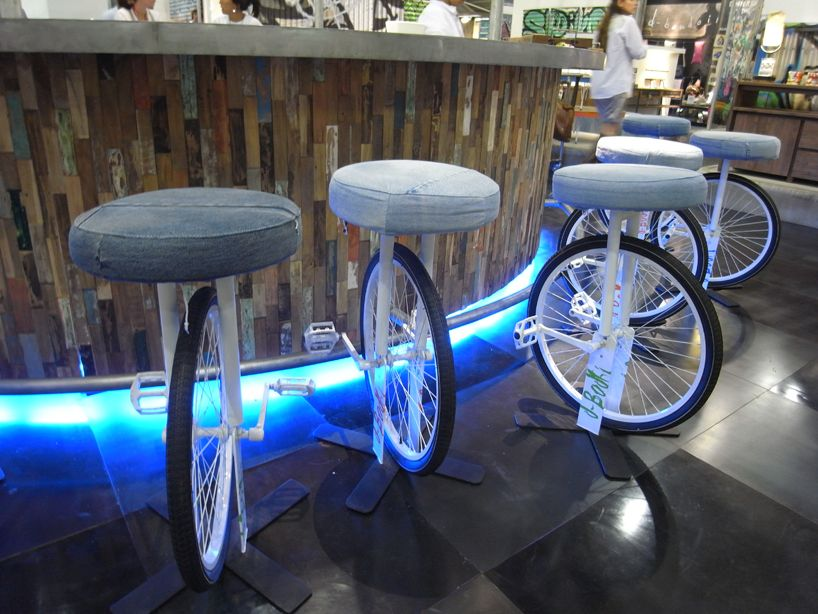 D Bodhi Denim Cycling Stool Recycled, Recycled Bike Furniture