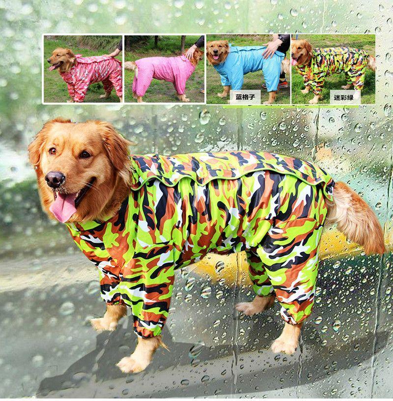 Dog Camouflage Raincoat Pet Jumpsuit Dog Clothes Apparel For