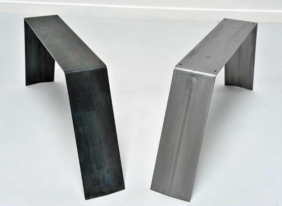 Pied de table et table basse en metal brut ou peint peinture couleur rouge orange gris et - Table plateau bois pied metal ...