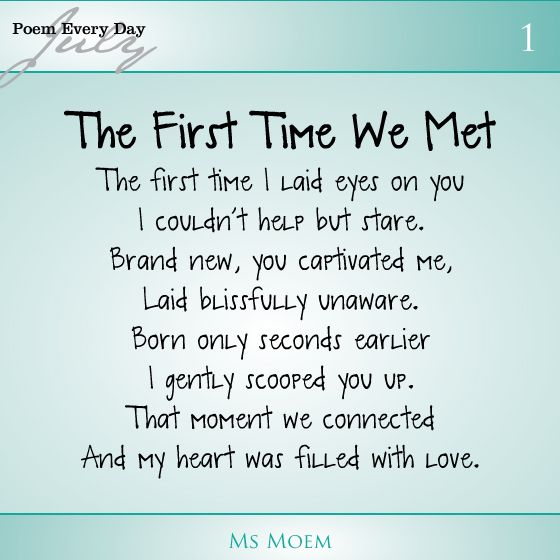 First Time Quotes: Poem About Meeting Your Baby For