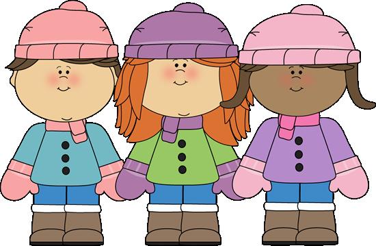 winter kids clip art | Winter Girl Friends - three little ...