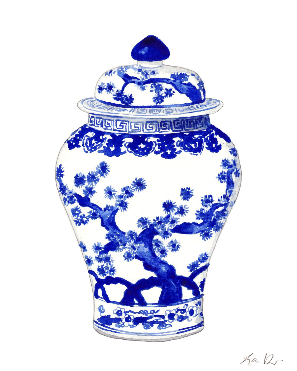 6cde6fbb4f35 Blue and White Ginger Jar Vase No. 10 - ORIGINAL Watercolor Painting - Home  Decor