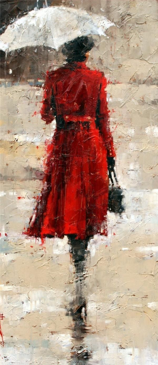 Lady in red coat with umbrella, in the rain artwork, art. | art ...