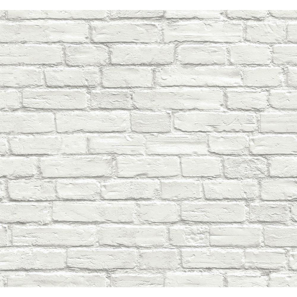 Nextwall Vintage White Brick Vinyl Peelable Wallpaper Covers 30 75 Sq Ft Ax10800 The Home Depot White Brick Wallpaper Removable Brick Wallpaper White Brick