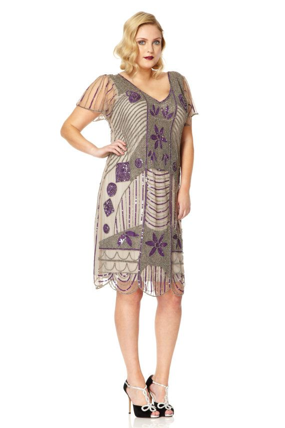 Daisy Taupe Purple Flapper dress with Sleeves Vintage 20s ...