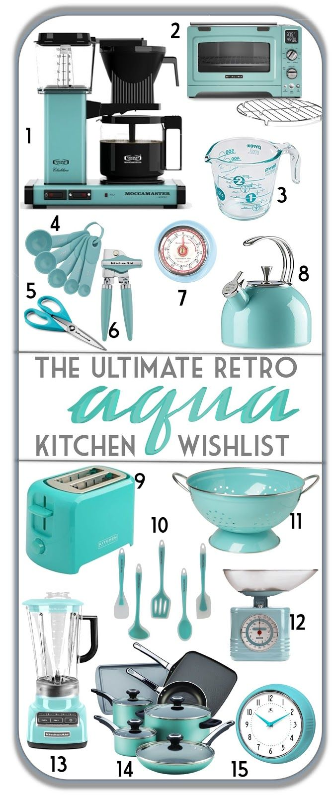 The Ultimate Retro Aqua Kitchen Wishlist is part of Aqua kitchen, Retro kitchen, Teal kitchen, Vintage home decor, Robins egg blue kitchen, Retro home decor - The ultimate guide to a pretty aqua or turquoise retro kitchen! Kitchenaid Aqua Sky, aqua kitchen, vintage kitchen, retro kitchen, turquoise kitchen, teal kitchen, mid century kitchen, mcm kitchen, robin egg blue kitchen