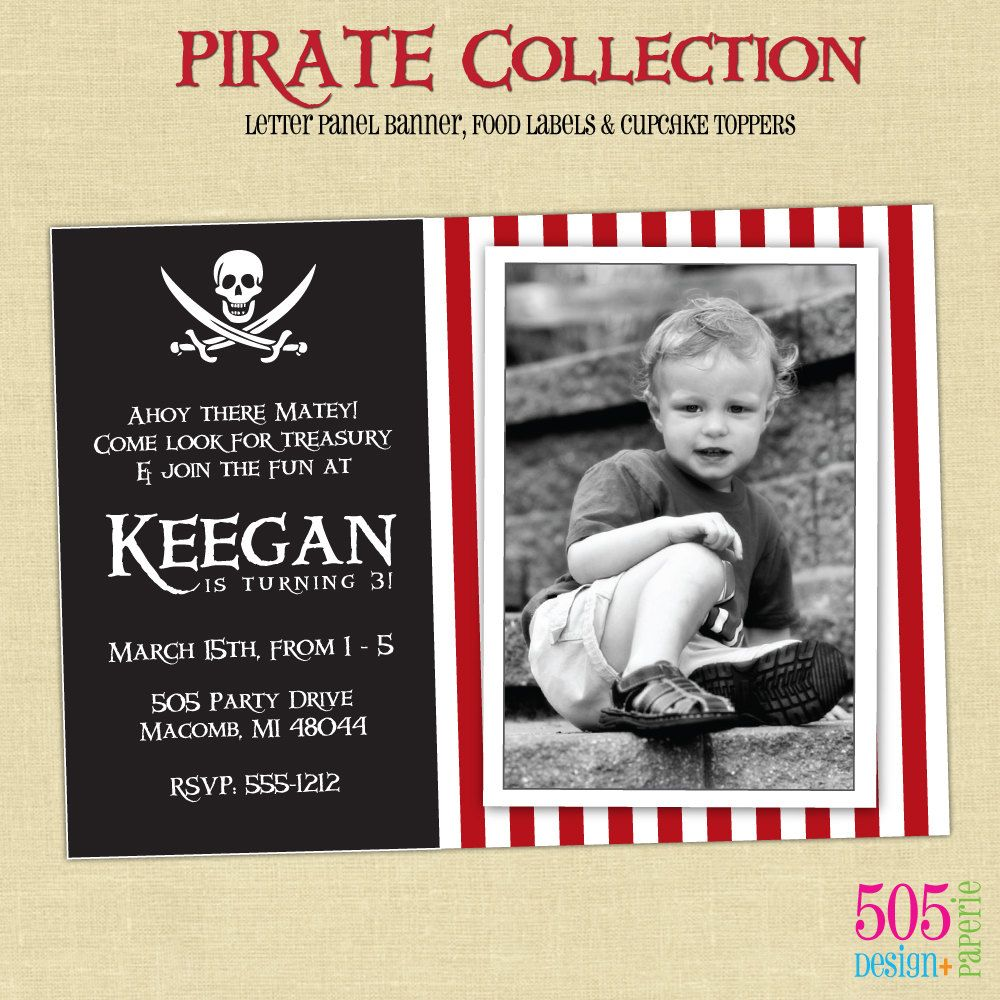 Photo Pirate Party Invitation - Printable. $13.50, via Etsy ...