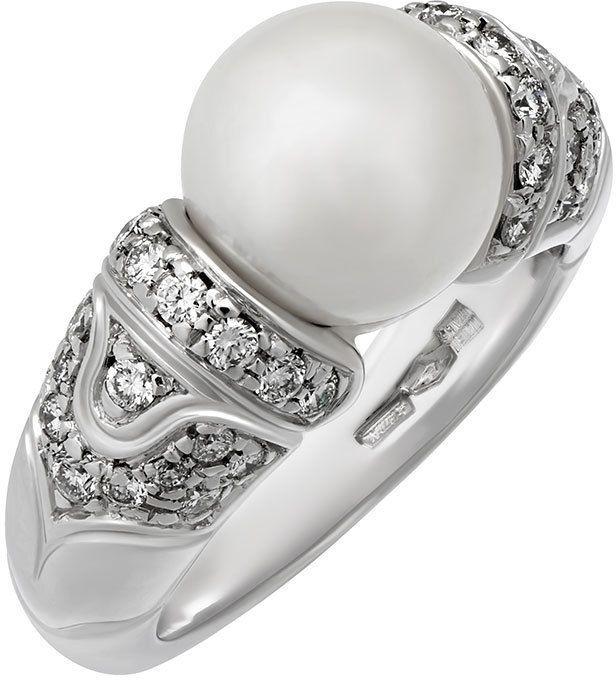 Bvlgari Estate 18k White Gold Pearl & Diamond Ring, Size 5
