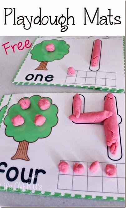 Free Apple Playdough Mats | Mathe, Zahlen und Grundschulen