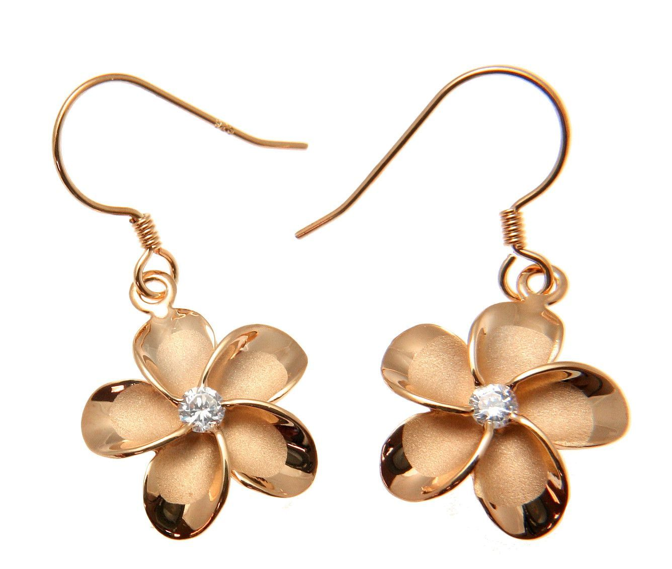 Silver 925 Pink Rose Gold Plated Hawaiian Plumeria Flower Earrings
